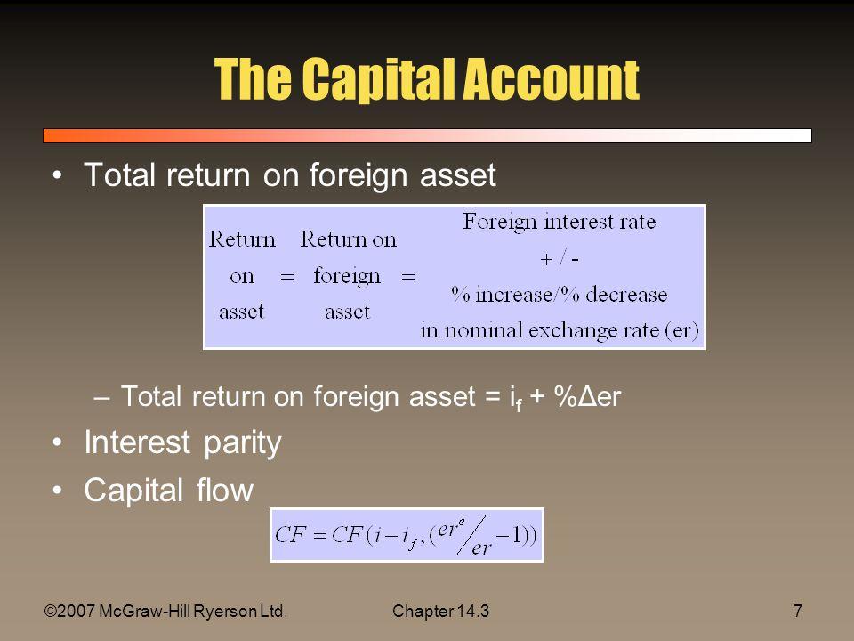 ©2007 McGraw-Hill Ryerson Ltd.Chapter 14.37 The Capital Account Total return on foreign asset –Total return on foreign asset = i f + %Δer Interest par