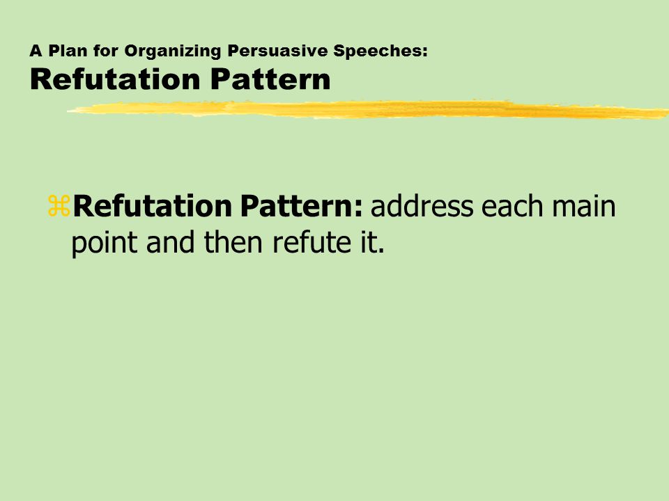 A Plan for Organizing Persuasive Speeches: Refutation Pattern zRefutation Pattern: address each main point and then refute it.