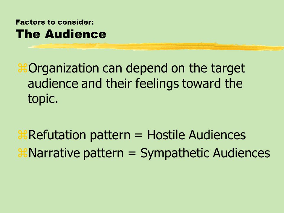 Factors to consider: The Audience zOrganization can depend on the target audience and their feelings toward the topic. zRefutation pattern = Hostile A