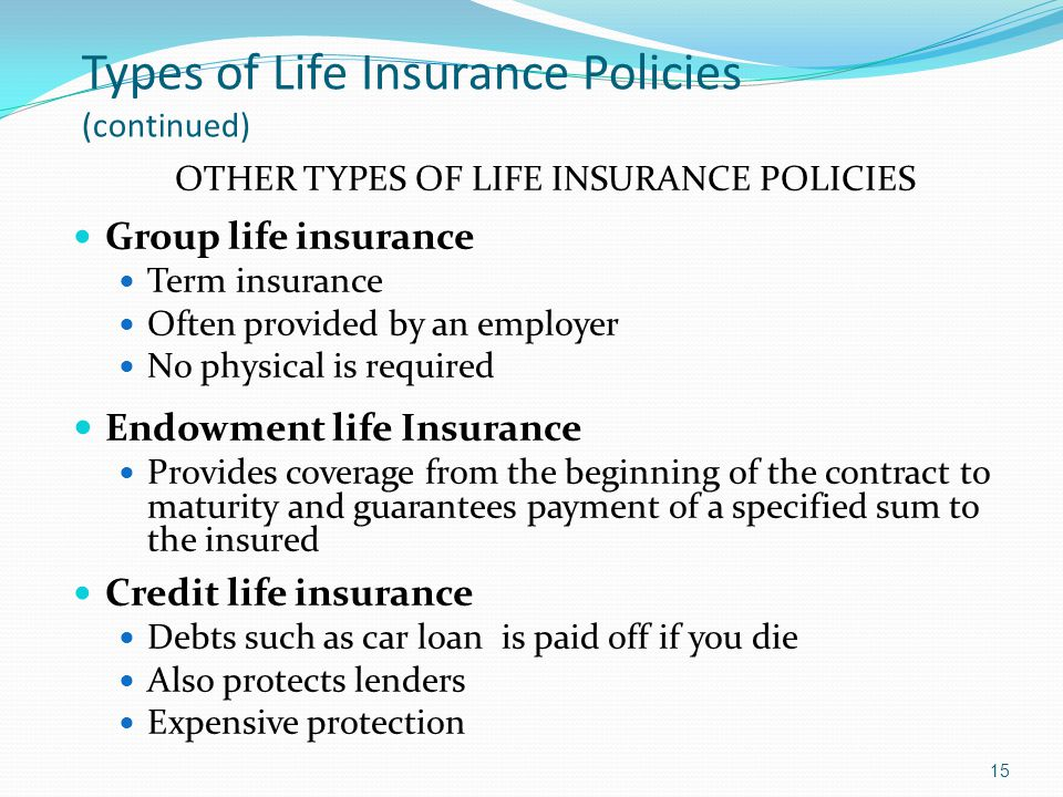 Types of Life Insurance Policies (continued) OTHER TYPES OF LIFE INSURANCE POLICIES Group life insurance Term insurance Often provided by an employer