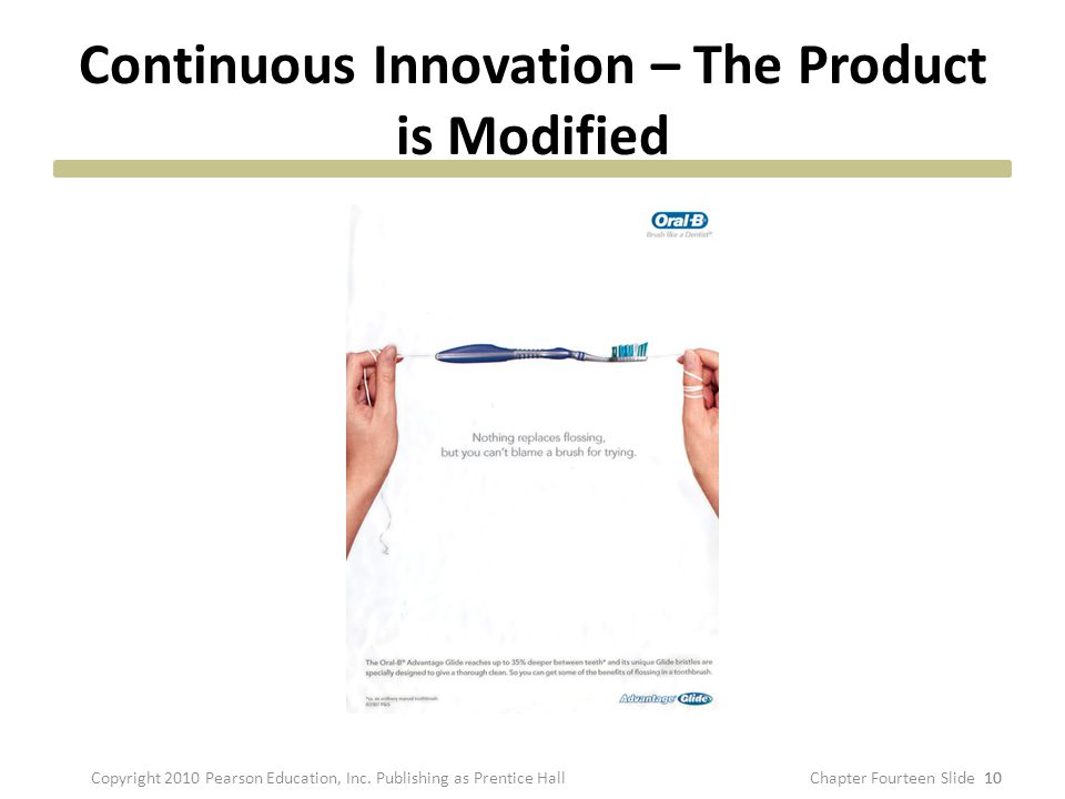 Continuous Innovation – The Product is Modified 10 Copyright 2010 Pearson Education, Inc. Publishing as Prentice HallChapter Fourteen Slide