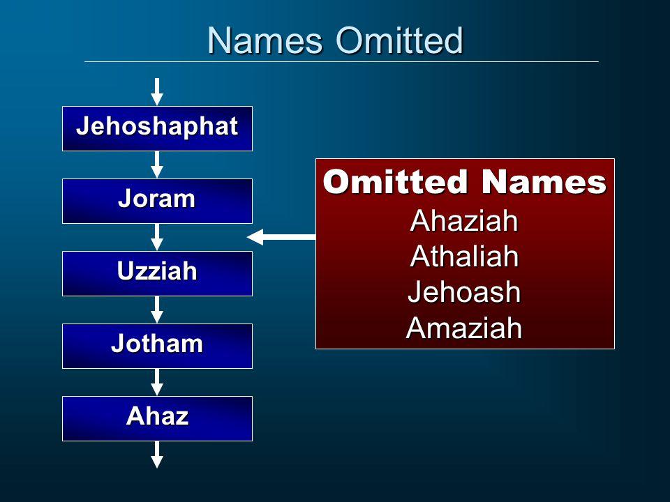 Names Omitted Joram Uzziah Jehoshaphat Jotham Ahaz Omitted Names AhaziahAthaliahJehoashAmaziah