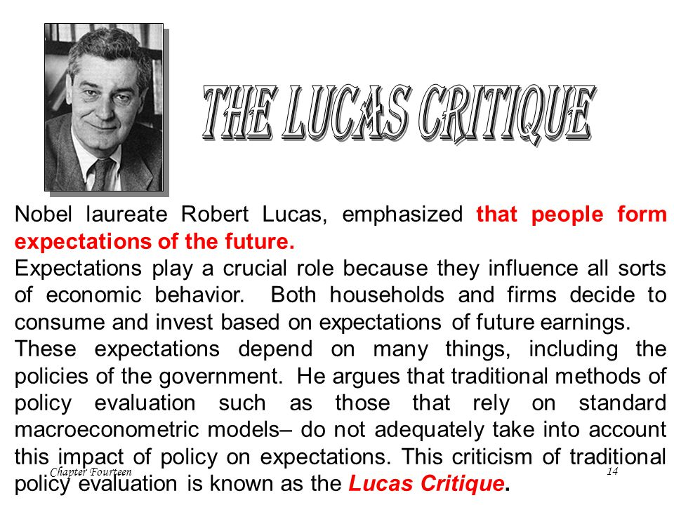 Chapter Fourteen14 Nobel laureate Robert Lucas, emphasized that people form expectations of the future. Expectations play a crucial role because they
