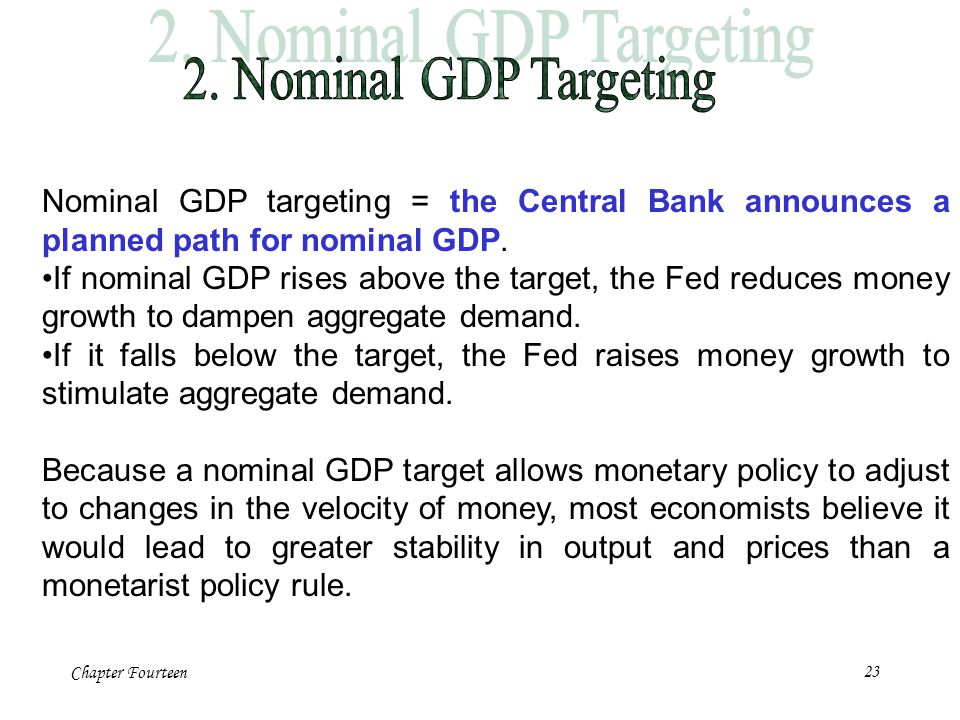 Chapter Fourteen23 Nominal GDP targeting = the Central Bank announces a planned path for nominal GDP. If nominal GDP rises above the target, the Fed r