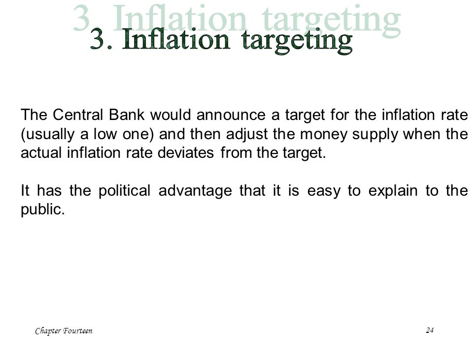 Chapter Fourteen24 The Central Bank would announce a target for the inflation rate (usually a low one) and then adjust the money supply when the actua