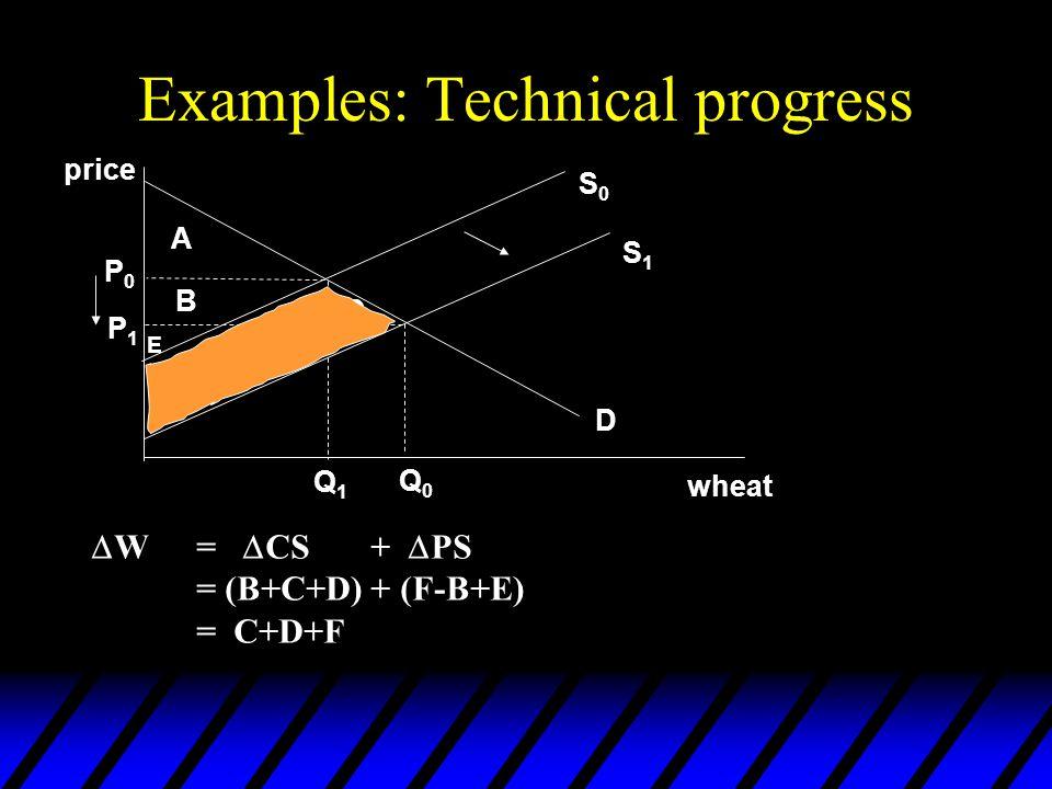 Examples: Technical progress  W=  CS +  PS = (B+C+D) + (F-B+E) = C+D+F price wheat A B C D E F D S1S1 S0S0 P0P0 P1P1 Q1Q1 Q0Q0