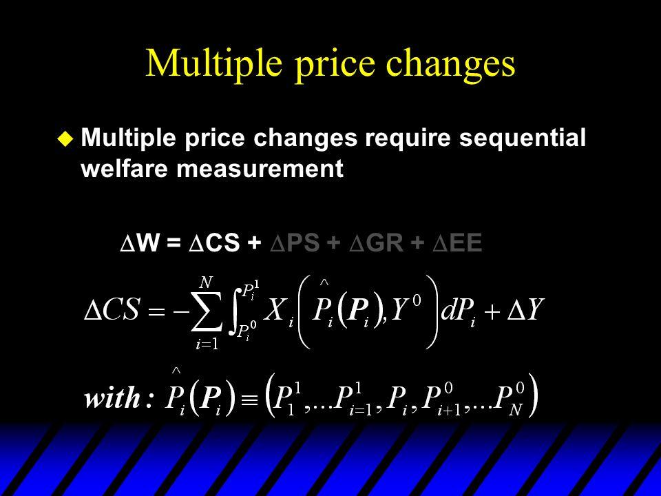 Multiple price changes  Multiple price changes require sequential welfare measurement  W =  CS +  PS +  GR +  EE