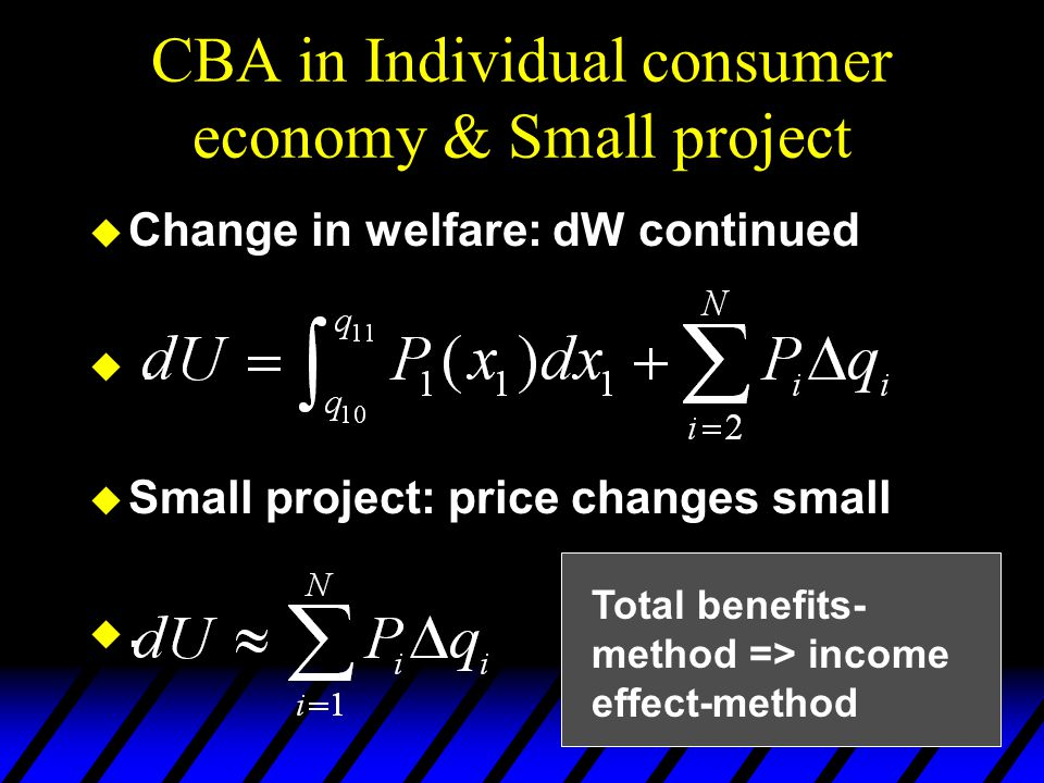 CBA in Individual consumer economy & Small project  Change in welfare: dW continued .  Small project: price changes small . Total benefits- method