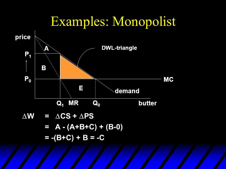 Examples: Monopolist  W=  CS +  PS = A - (A+B+C) + (B-0) = -(B+C) + B = -C butter price Q0Q0 MR Q1Q1 demand A B C P1P1 P0P0 DWL-triangle MC E