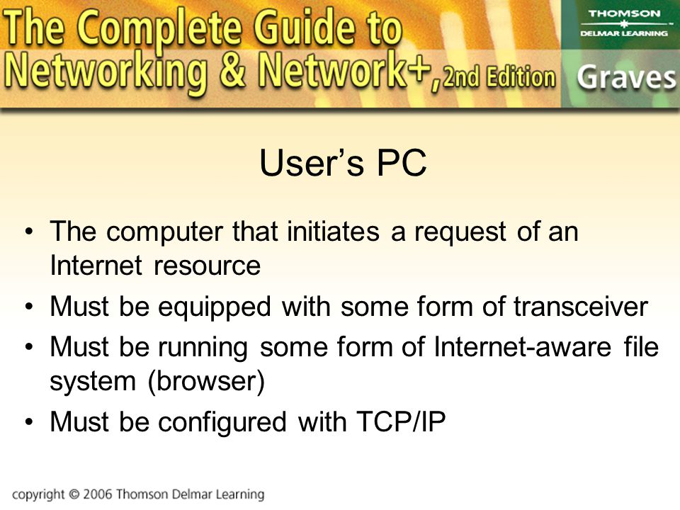 User's PC The computer that initiates a request of an Internet resource Must be equipped with some form of transceiver Must be running some form of Internet-aware file system (browser) Must be configured with TCP/IP