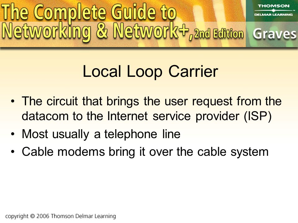 Local Loop Carrier The circuit that brings the user request from the datacom to the Internet service provider (ISP) Most usually a telephone line Cable modems bring it over the cable system
