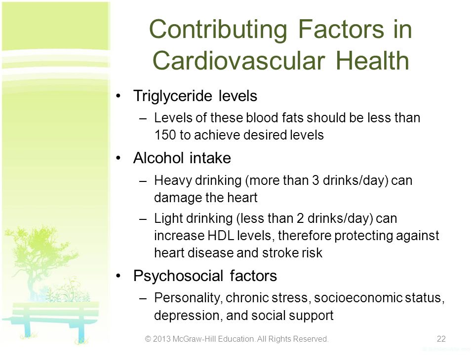 Contributing Factors in Cardiovascular Health Triglyceride levels –Levels of these blood fats should be less than 150 to achieve desired levels Alcoho