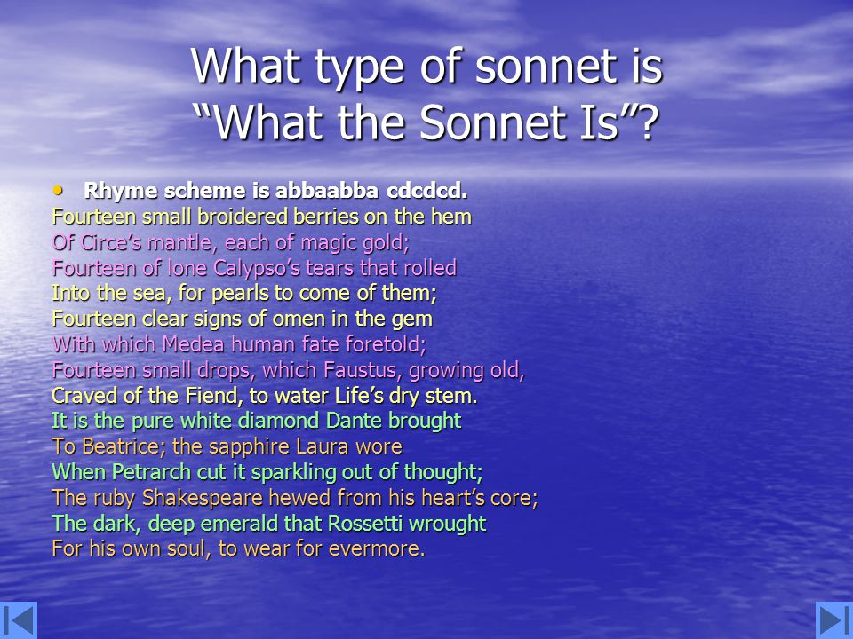 What type of sonnet is What the Sonnet Is .Rhyme scheme is abbaabba cdcdcd.