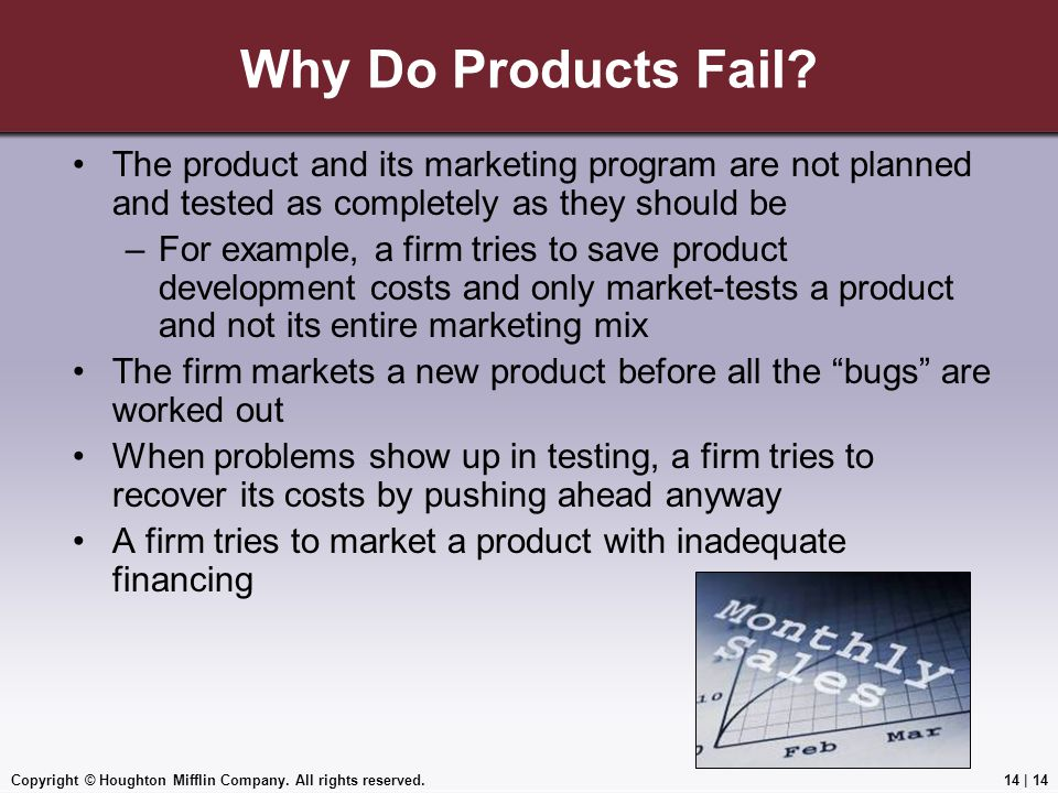 Copyright © Houghton Mifflin Company. All rights reserved.14 | 14 Why Do Products Fail? The product and its marketing program are not planned and test