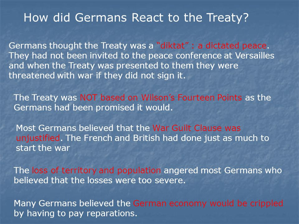 How did Germans React to the Treaty. Germans thought the Treaty was a diktat : a dictated peace.