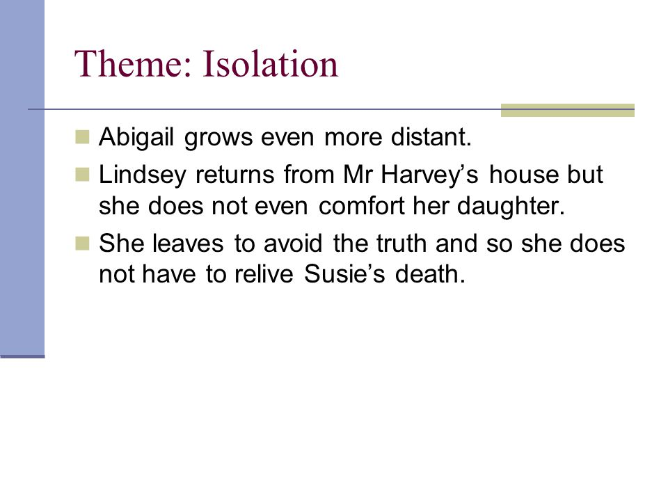 Theme: Isolation Abigail grows even more distant.
