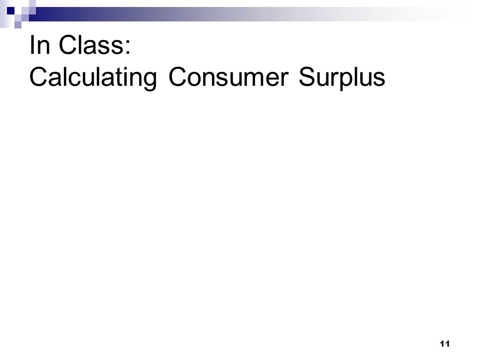 11 In Class: Calculating Consumer Surplus