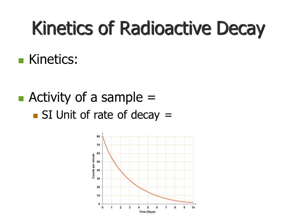 Kinetics of Radioactive Decay Kinetics: Kinetics: Activity of a sample = Activity of a sample = SI Unit of rate of decay = SI Unit of rate of decay =