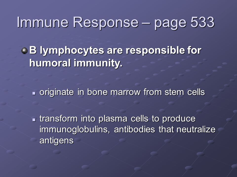 Immune Response – page 533 B lymphocytes are responsible for humoral immunity.