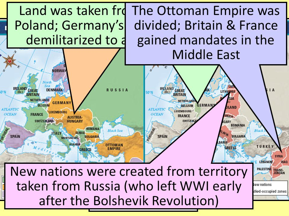 Europe & Middle East Before & After World War I Central Europe was redrawn to reduce the power of the Austro-Hungarian Empire Land was taken from Germ