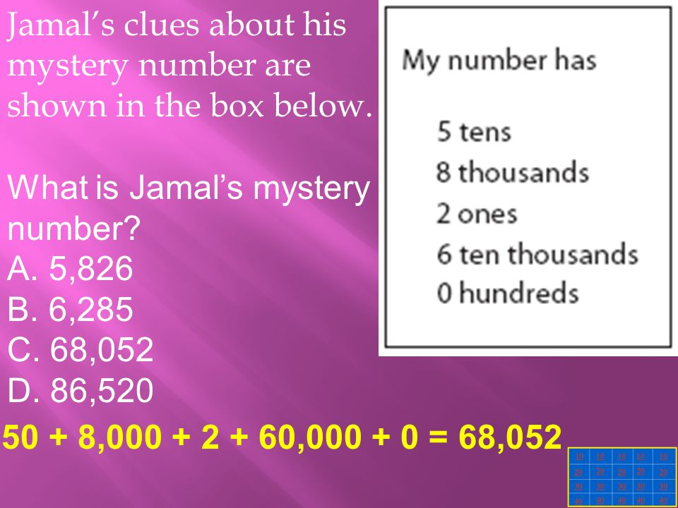 Jamal's clues about his mystery number are shown in the box below.
