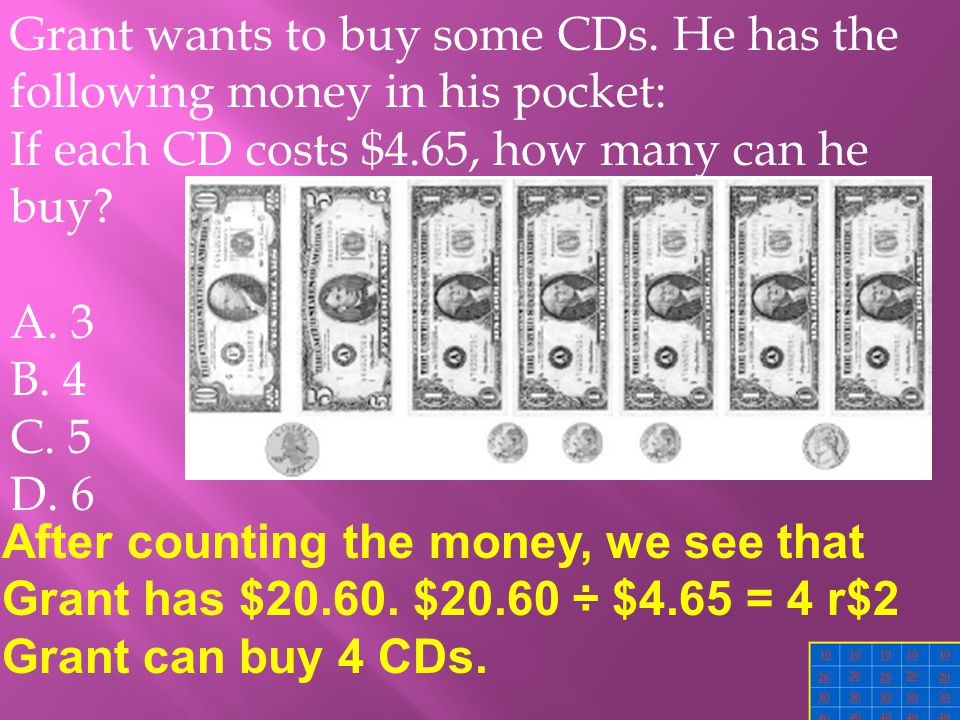 Grant wants to buy some CDs.