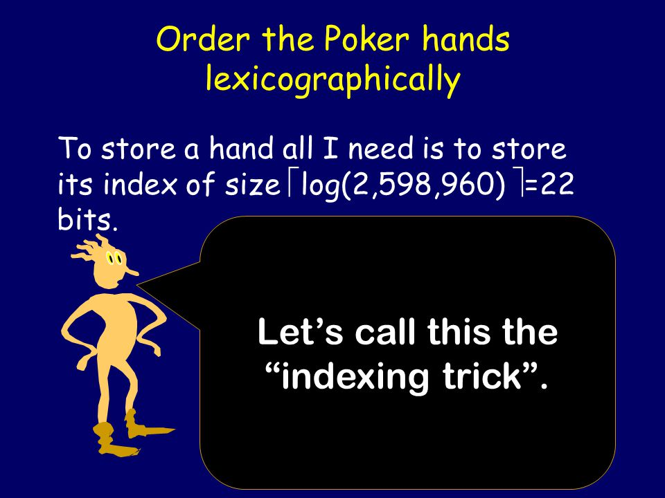 Storing Poker Hands I want to store a 5 card poker hand using the smallest number of bits (space efficient). The naïve scheme would use 2 bits for a s