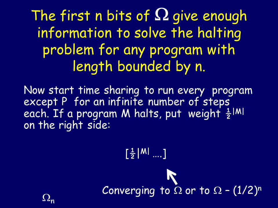 The first n bits of  give enough information to solve the halting problem for any program with length bounded by n.