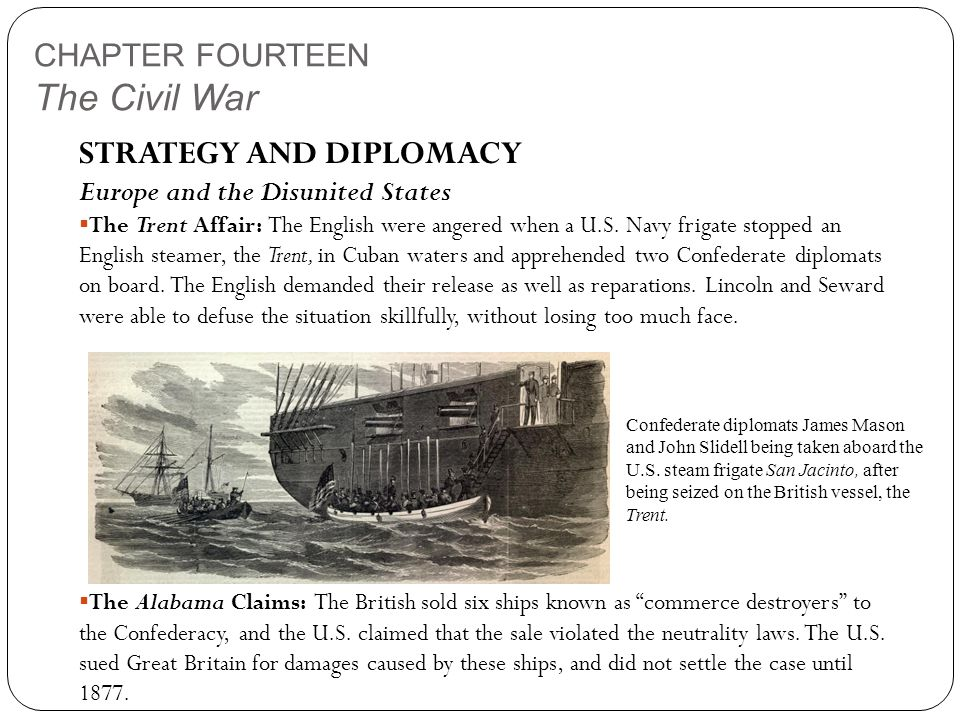 CHAPTER FOURTEEN The Civil War STRATEGY AND DIPLOMACY Europe and the Disunited States  The Trent Affair: The English were angered when a U.S.