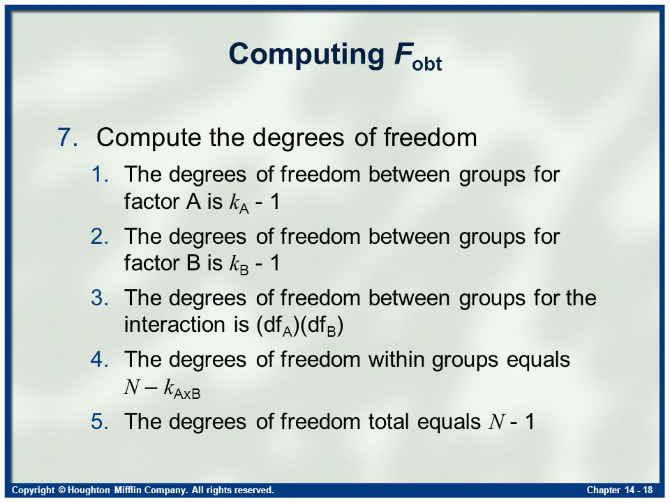 Copyright © Houghton Mifflin Company. All rights reserved.Chapter 14 - 18 Computing F obt 7.Compute the degrees of freedom 1.The degrees of freedom be