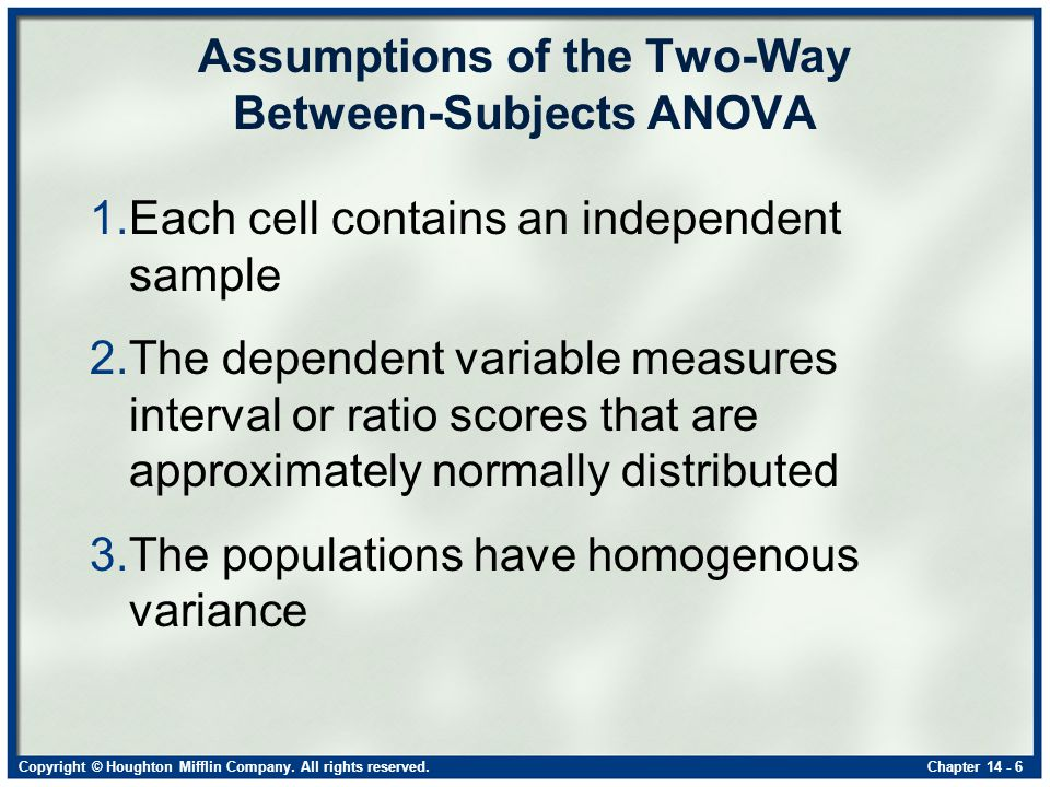 Copyright © Houghton Mifflin Company. All rights reserved.Chapter 14 - 6 Assumptions of the Two-Way Between-Subjects ANOVA 1.Each cell contains an ind
