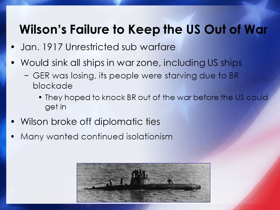 Wilson's Failure to Keep the US Out of War Jan.