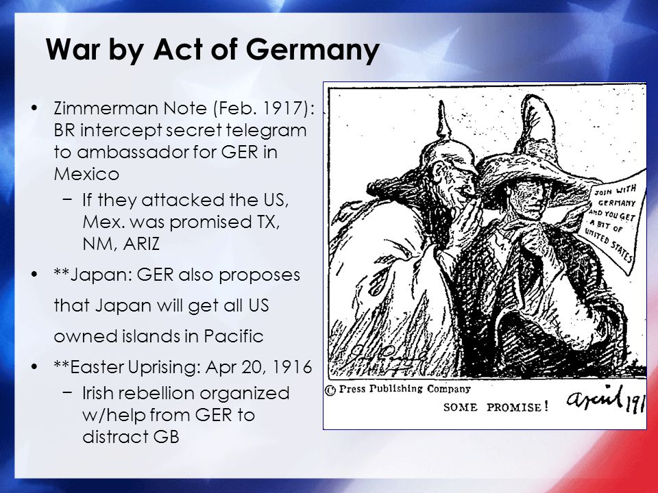 War by Act of Germany Zimmerman Note (Feb.