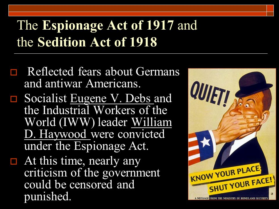 The Espionage Act of 1917 and the Sedition Act of 1918  Reflected fears about Germans and antiwar Americans.
