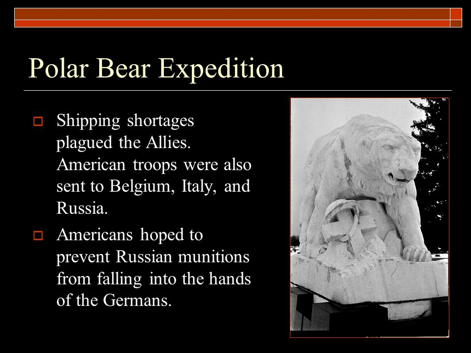 Polar Bear Expedition  Shipping shortages plagued the Allies.