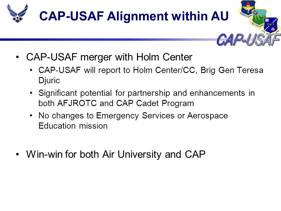 CAP-USAF ORI CAP-USAF Operational Readiness Inspection We get inspected, too Air University Operational Readiness Inspection from AETC in 19 – 28 Oct 2008 CAP-USAF results: Overall Excellent Logistics: Excellent Operations: Excellent Safety: Excellent 8