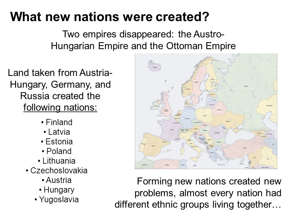 What new nations were created.