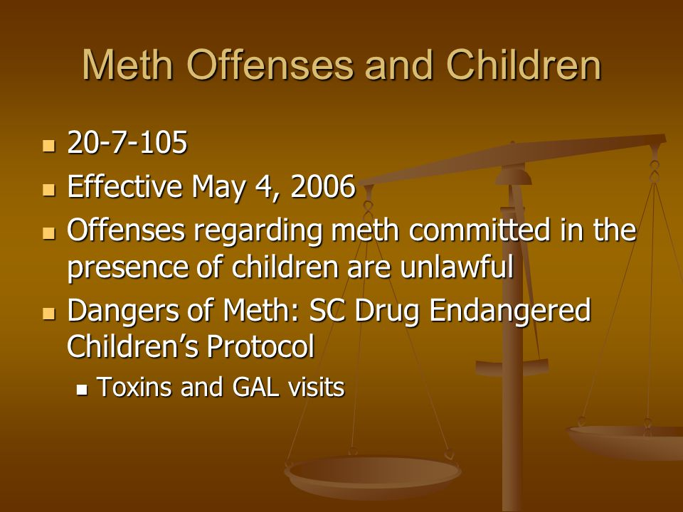 Meth Offenses and Children 20-7-105 20-7-105 Effective May 4, 2006 Effective May 4, 2006 Offenses regarding meth committed in the presence of children are unlawful Offenses regarding meth committed in the presence of children are unlawful Dangers of Meth: SC Drug Endangered Children's Protocol Dangers of Meth: SC Drug Endangered Children's Protocol Toxins and GAL visits Toxins and GAL visits
