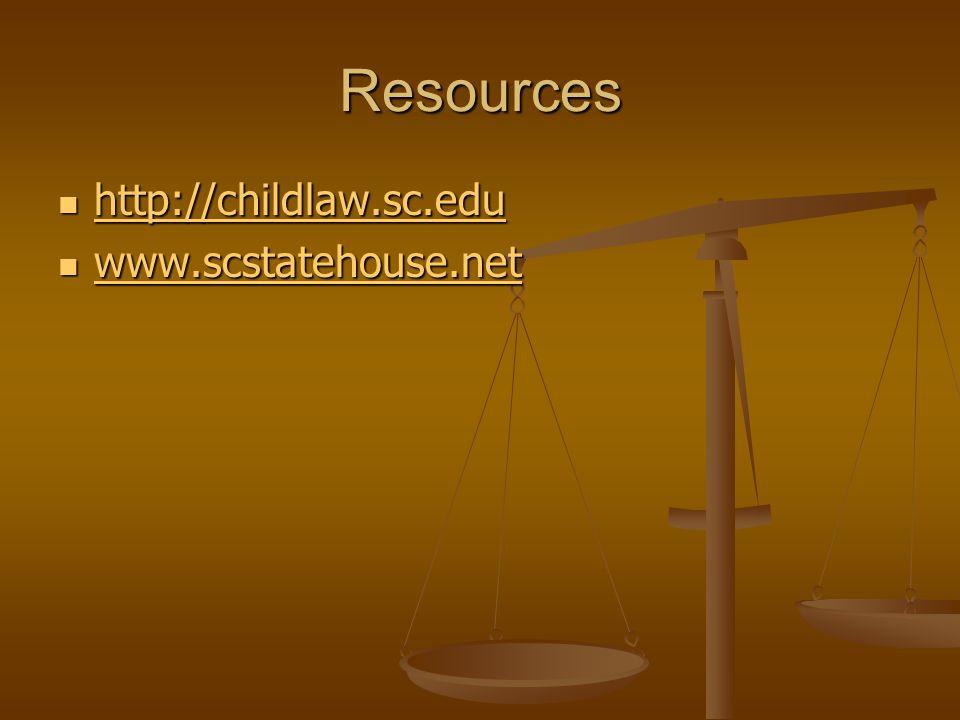 Resources http://childlaw.sc.edu http://childlaw.sc.edu http://childlaw.sc.edu www.scstatehouse.net www.scstatehouse.net www.scstatehouse.net