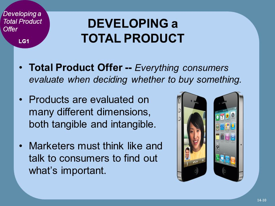 Developing a Total Product Offer Total Product Offer -- Everything consumers evaluate when deciding whether to buy something.