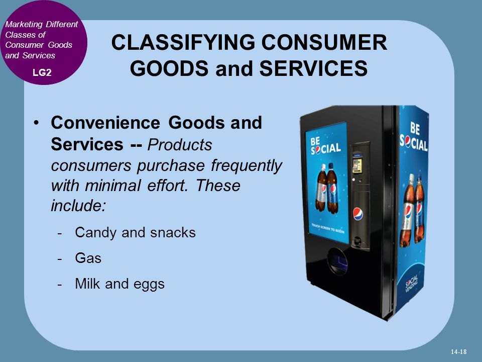 Marketing Different Classes of Consumer Goods and Services Convenience Goods and Services -- Products consumers purchase frequently with minimal effort.