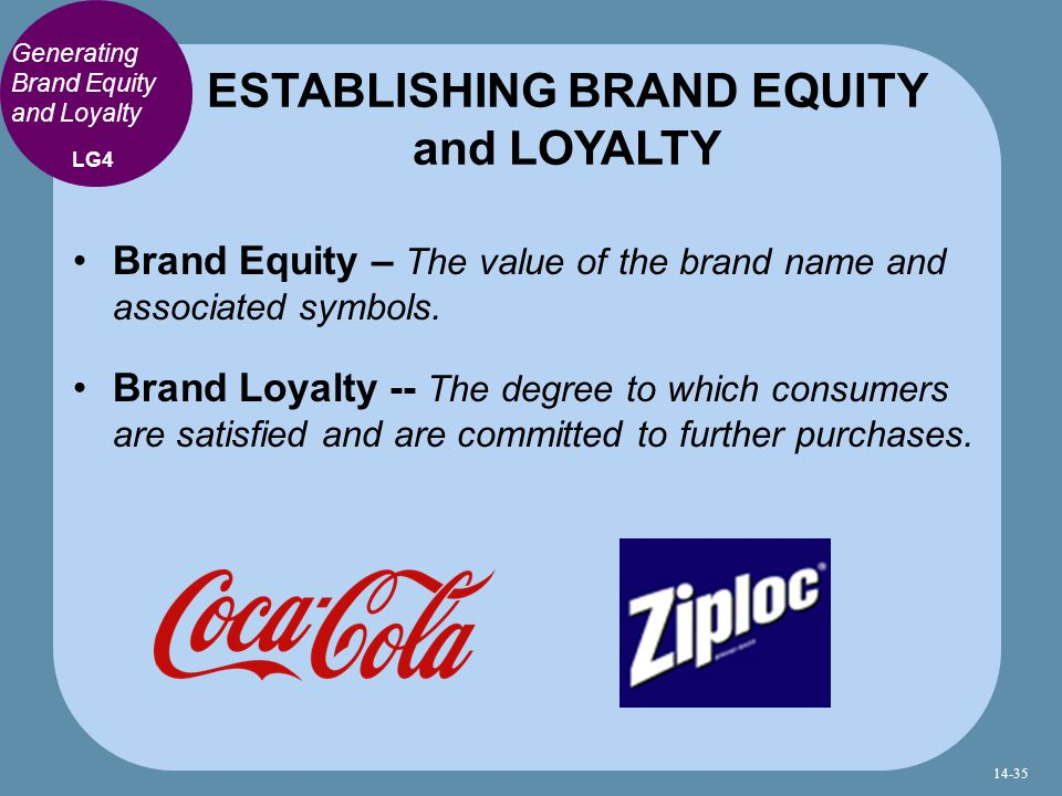 Generating Brand Equity and Loyalty Brand Equity – The value of the brand name and associated symbols.