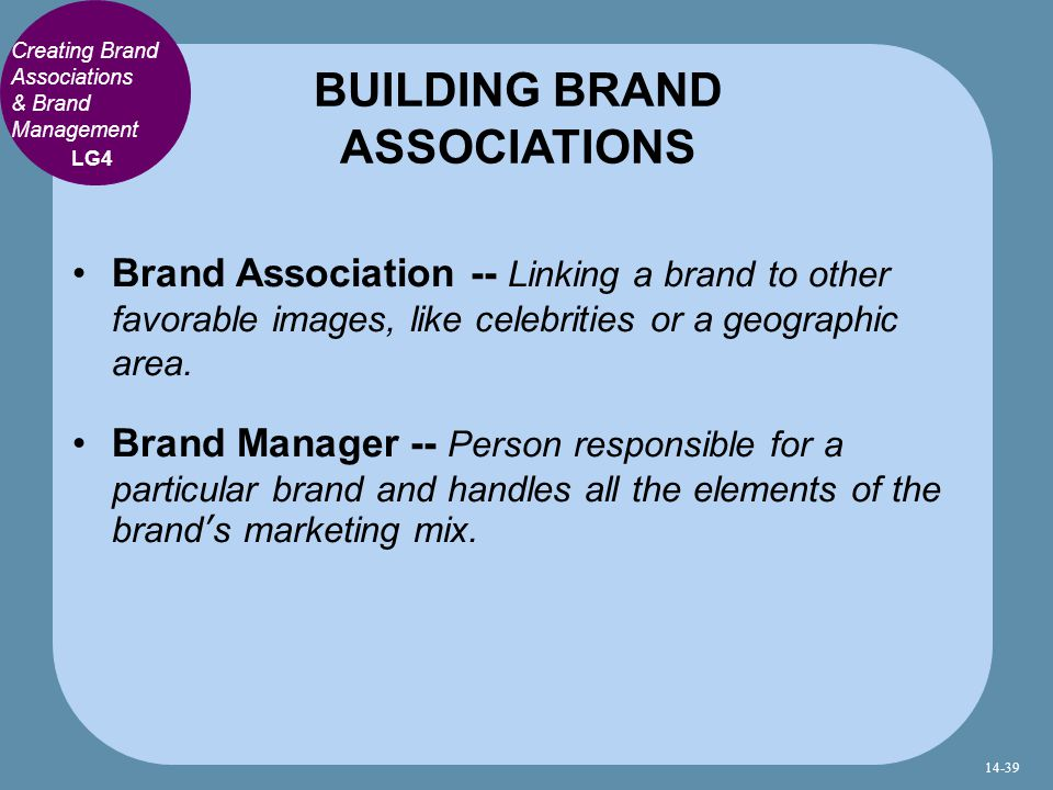 Brand Association -- Linking a brand to other favorable images, like celebrities or a geographic area.