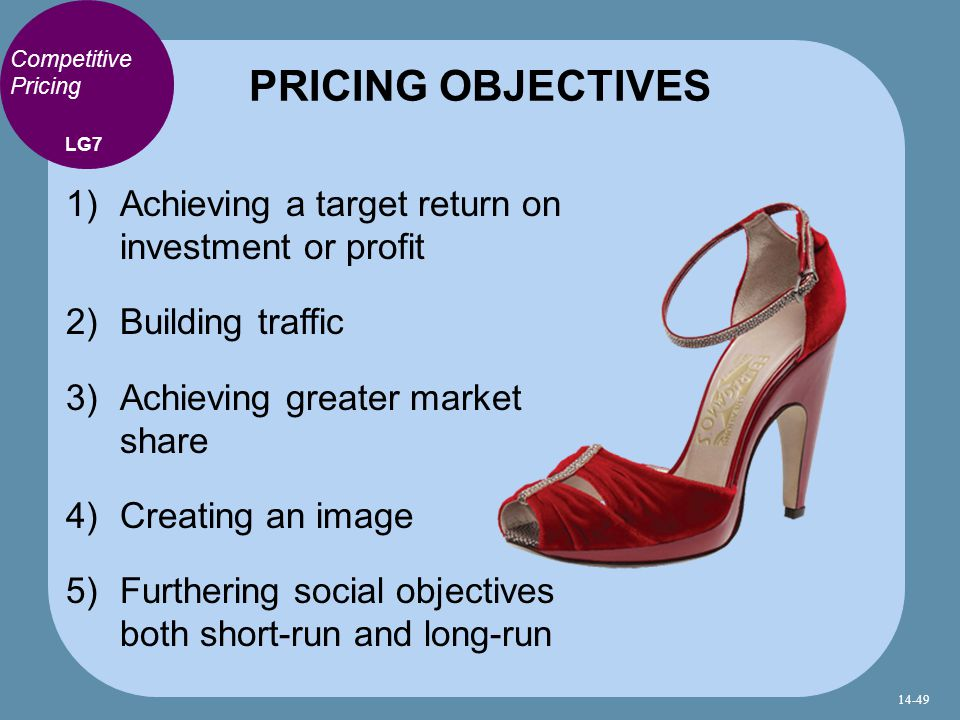 Competitive Pricing 1) Achieving a target return on investment or profit 2) Building traffic 3) Achieving greater market share 4) Creating an image 5) Furthering social objectives both short-run and long-run PRICING OBJECTIVES LG7 14-49