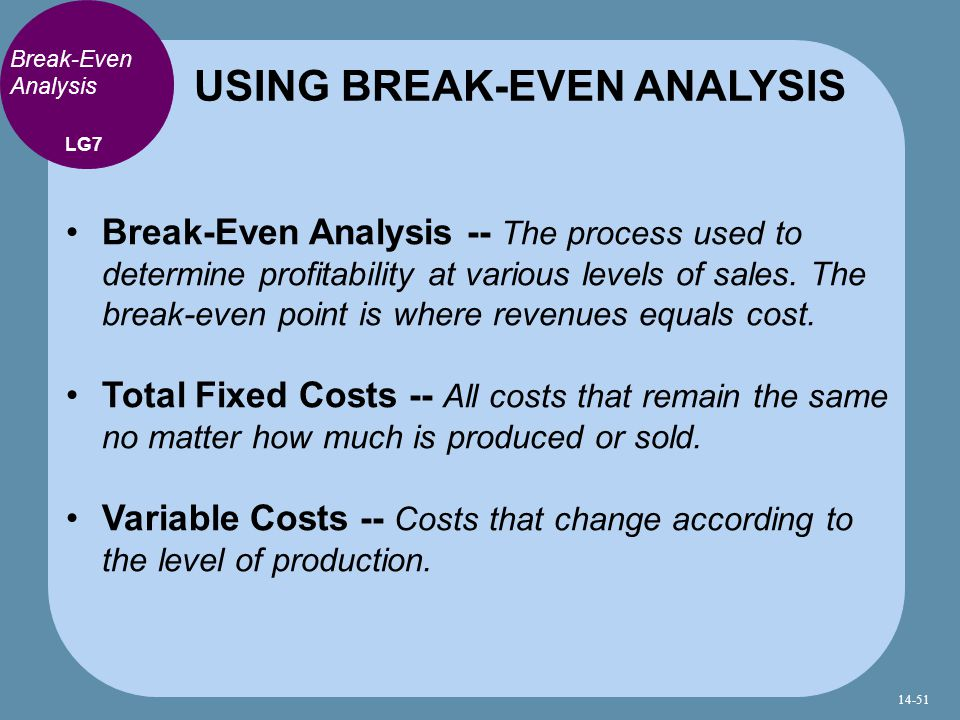 Break-Even Analysis Break-Even Analysis -- The process used to determine profitability at various levels of sales.