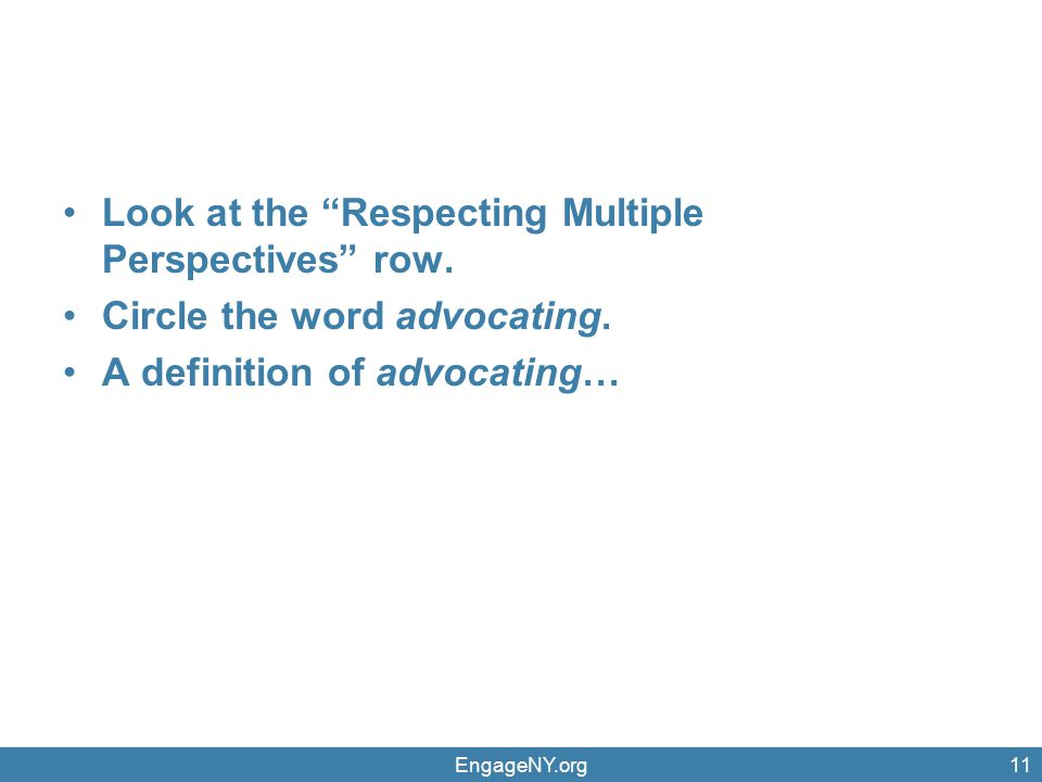 Look at the Respecting Multiple Perspectives row.
