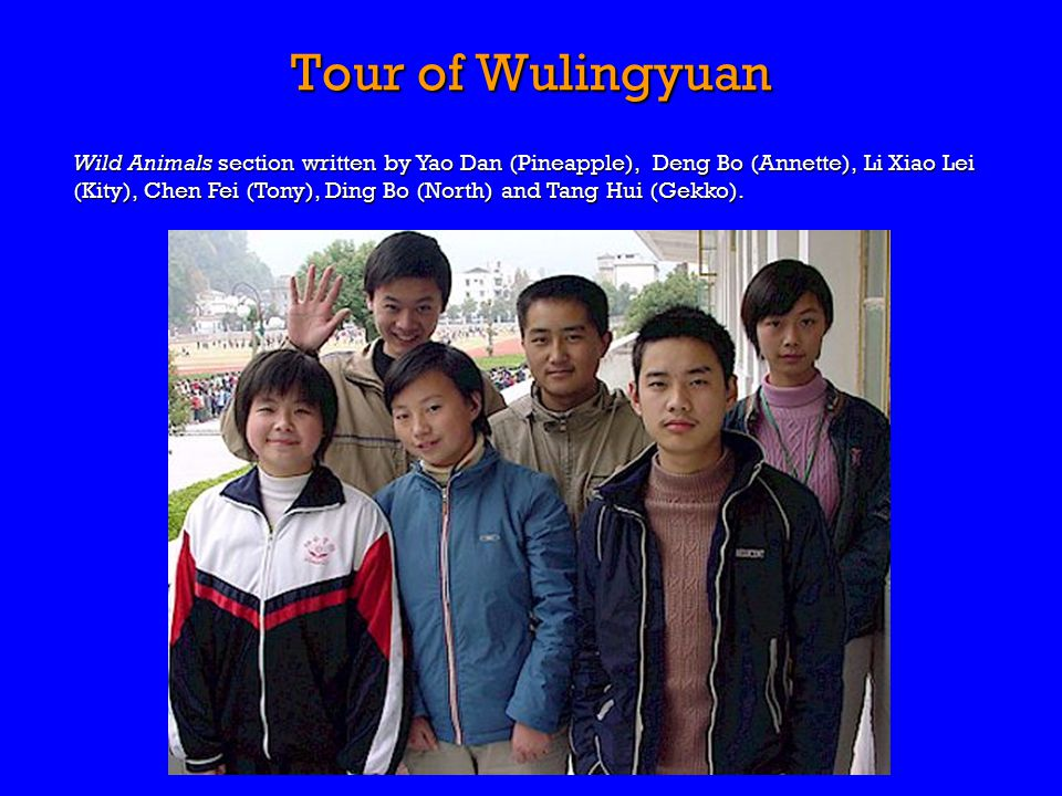 Tour of Wulingyuan Wild Animals section written by Yao Dan (Pineapple), Deng Bo (Annette), Li Xiao Lei (Kity), Chen Fei (Tony), Ding Bo (North) and Tang Hui (Gekko).