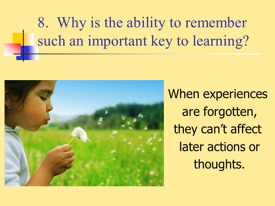 8. Why is the ability to remember such an important key to learning? When experiences are forgotten, they can't affect later actions or thoughts.