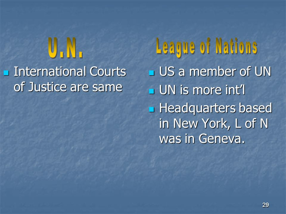 29 International Courts of Justice are same International Courts of Justice are same US a member of UN US a member of UN UN is more int'l UN is more i