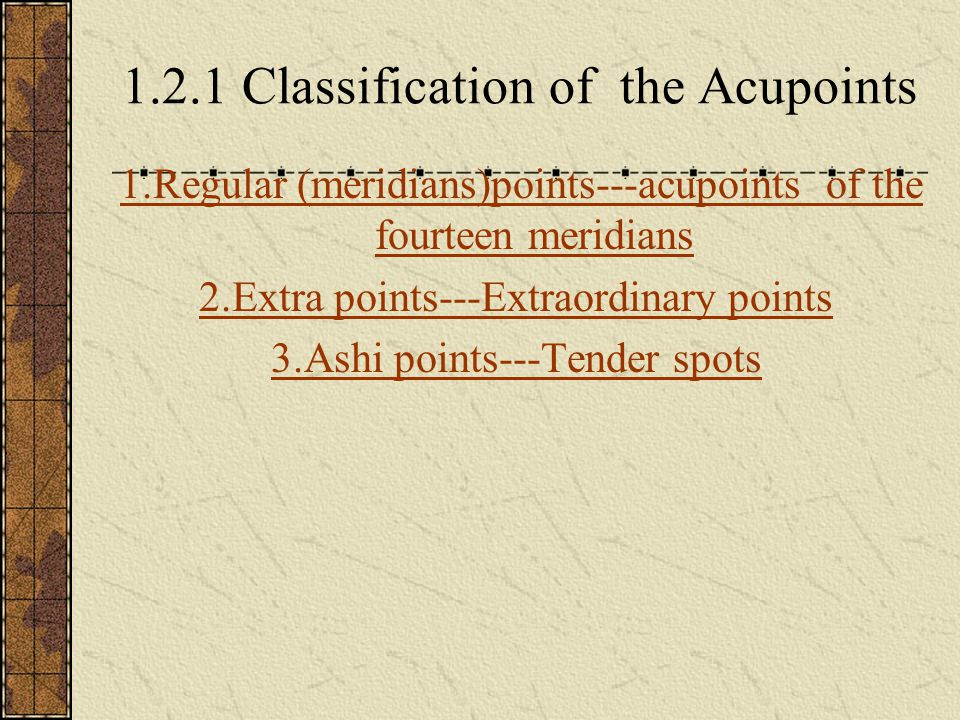 Regular(meridians) points with regular names with regular locations with pertaining to definite meridians(distributed along the twelve regular meridians and the Du and the Ren meridians--- the fourteen meridians) major part of the acupoints with number of 361 in total